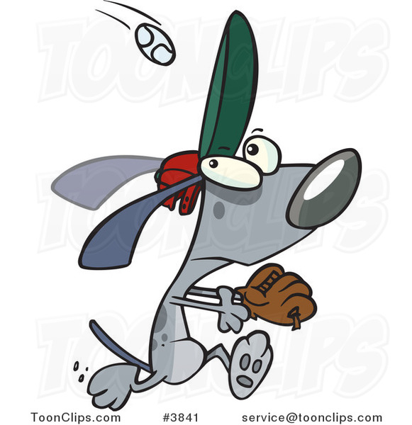 Cartoon Dog Running to Catch a Baseball