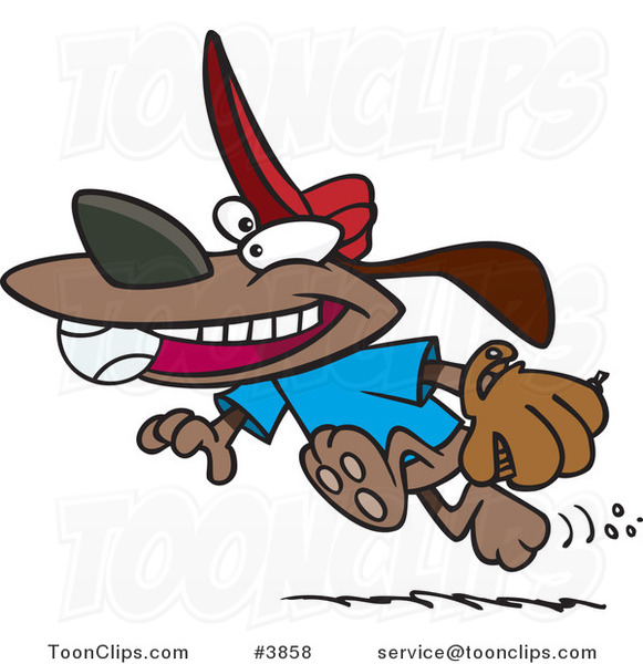 Cartoon Dog Running with a Baseball in His Mouth
