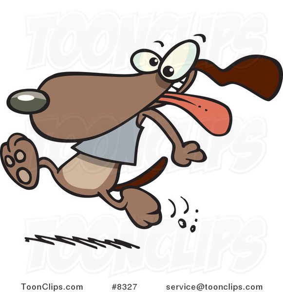 Cartoon Dog Running with His Tongue Hanging out
