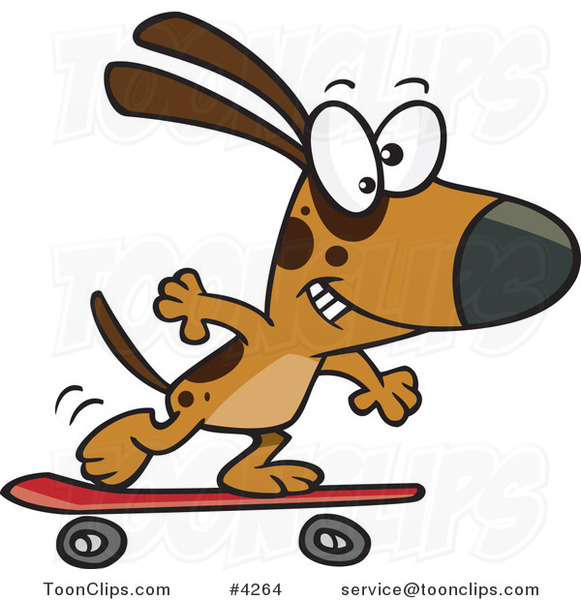 Cartoon Dog Skateboarding 4264 By Ron Leishman