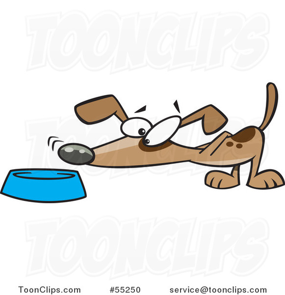 Cartoon Dog Sniffing Food in a Bowl
