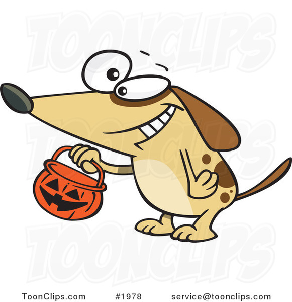Cartoon Dog Trick or Treating on Halloween