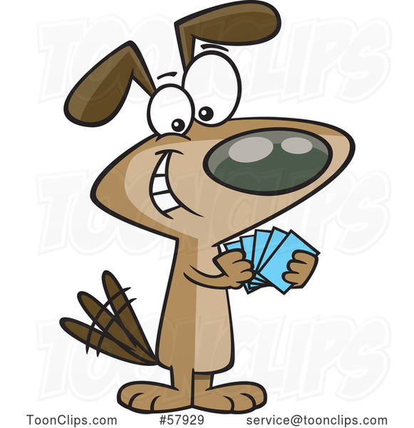 Cartoon Dog with a Poker Face, Playing Cards
