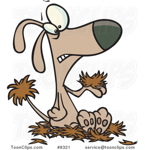 Cartoon Dog with Alopecia, Sitting on a Pile of Hair