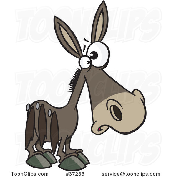 Cartoon Donkey Pinned with Tails on His Side