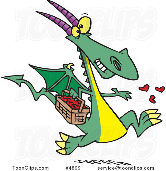 Cartoon Dragon Spreading Love