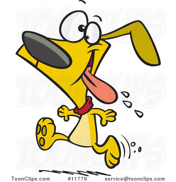 Cartoon Drooling Dog Running for Dinner