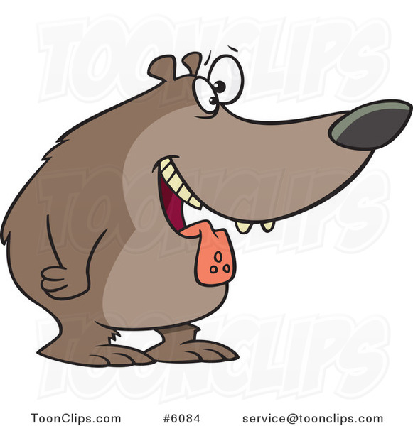 Cartoon Drooling Hungry Bear