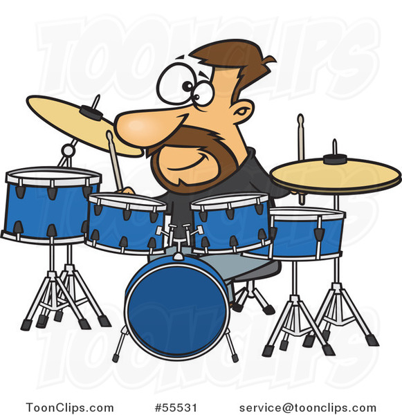 Cartoon Drummer Dude with His Instruments