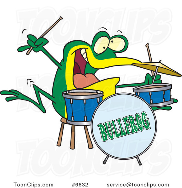 Cartoon Drummer Frog