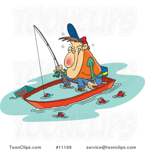 Cartoon Drunk Guy Fishing in a Sinking Boat