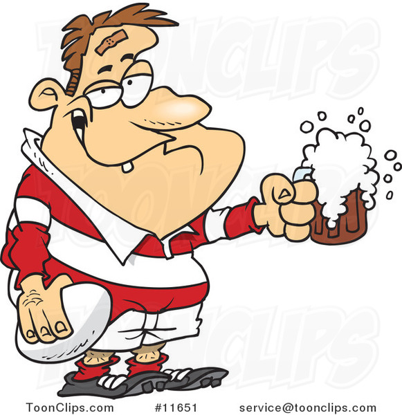 Cartoon Drunk Rugby Player Holding a Ball and Frothy Beer