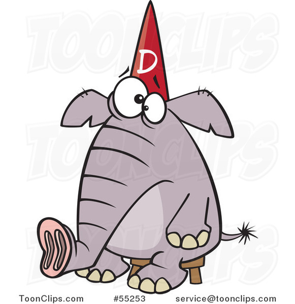Cartoon Dumb Elephant Sitting on a Stool and Wearing a Dunce Hat