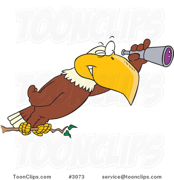 Cartoon Eagle Using a Telescope