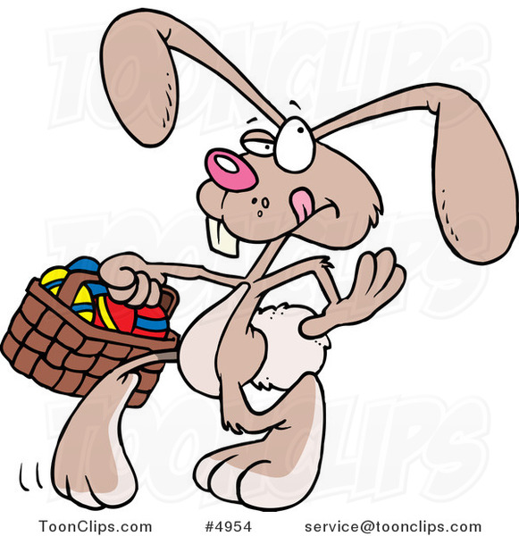 Cartoon Easter Bunny Walking with an Easter Basket
