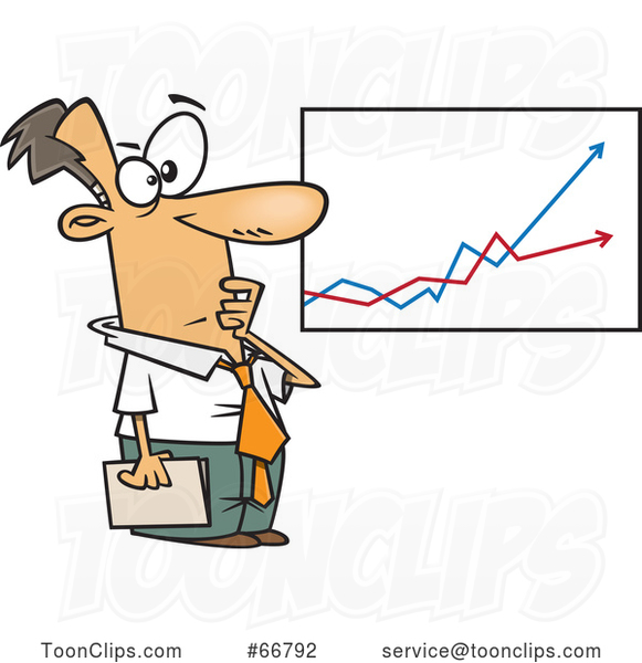 Cartoon Economist Businessman Viewing a Growth and Decline Chart