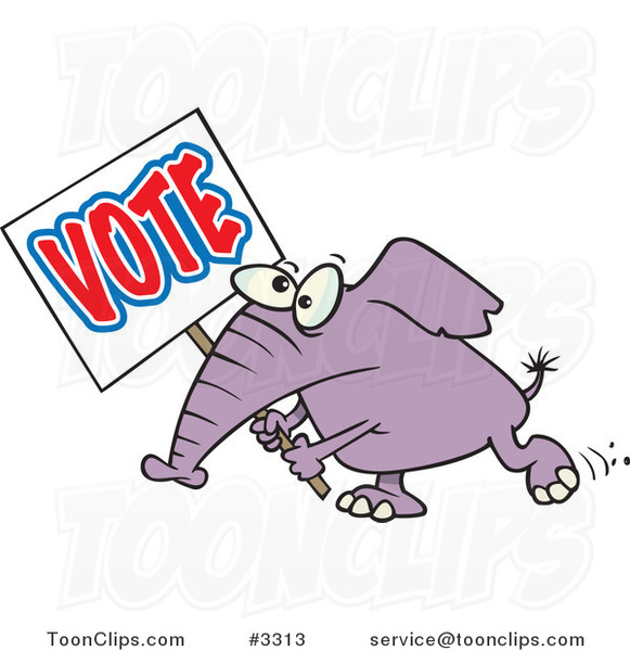Cartoon Elephant Carrying a Vote Sign
