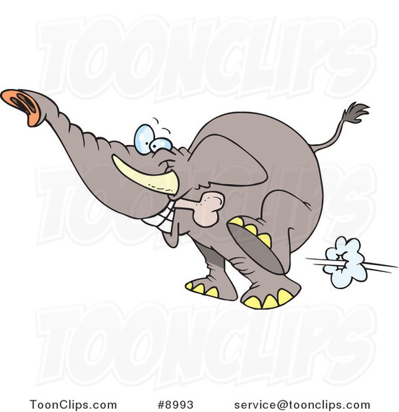 Cartoon Elephant Fetching a Bone