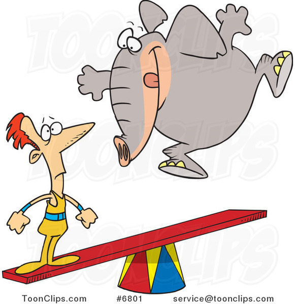 Cartoon Elephant Jumping on a See Saw to Make a Stunt Guy Fly