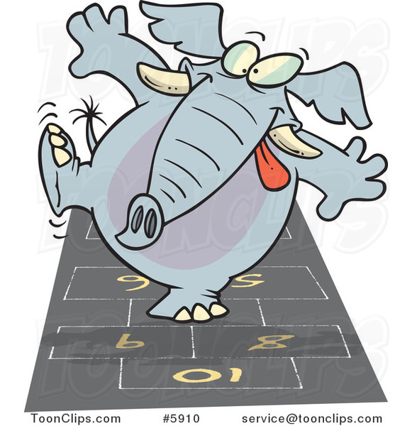 Cartoon Elephant Playing Hop Scotch