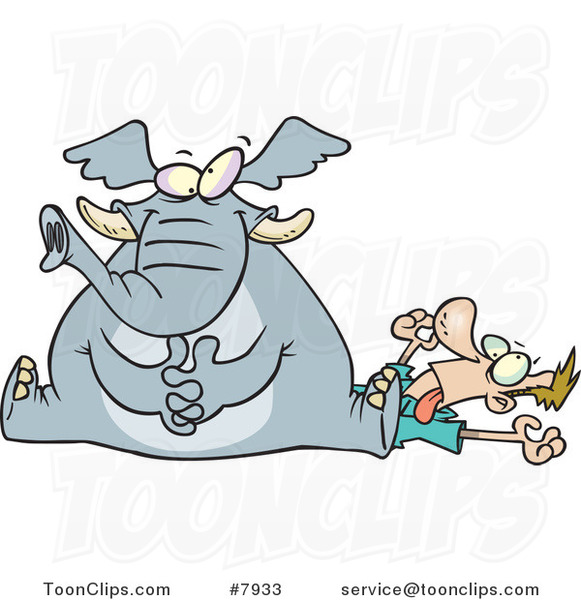 Cartoon Elephant Sitting on a Guy's Chest