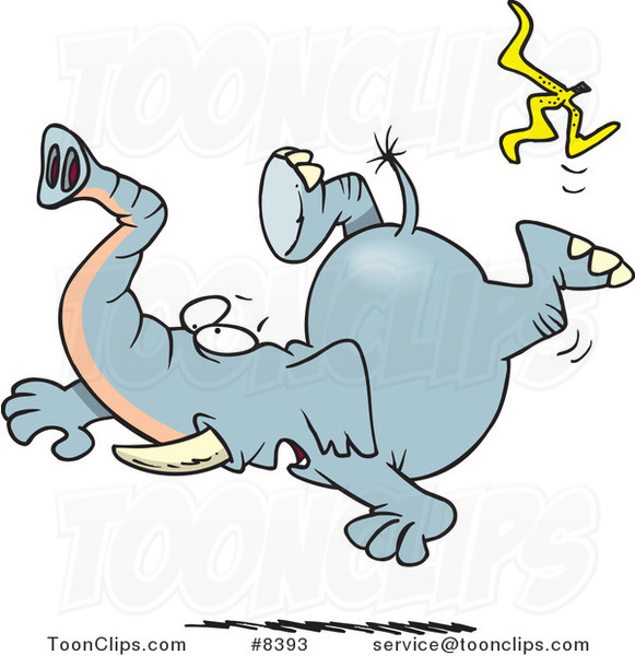 Cartoon Elephant Slipping on a Banana Peel