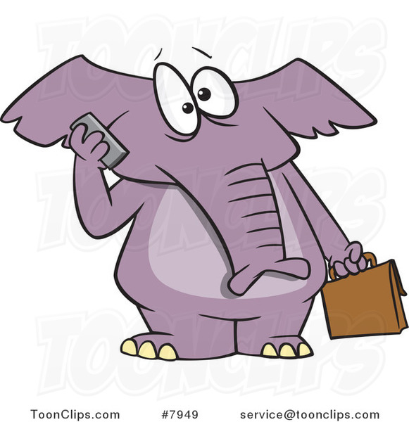 Cartoon Elephant Talking on a Cell Phone