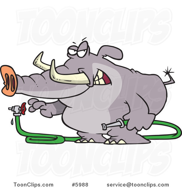Cartoon Elephant Turning a Hose on