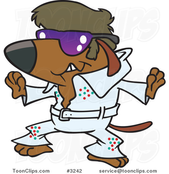 Cartoon Elvis Impersonator Dog Dancing