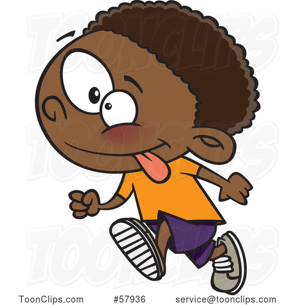 Cartoon Energetic Black Boy Running