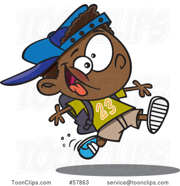 Cartoon Energetic Black School Boy Running