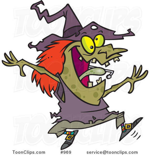 Cartoon Energetic Witch Jumping 969 By Ron Leishman