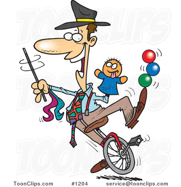 Cartoon Entertainer Doing Tricks on a Unicycle