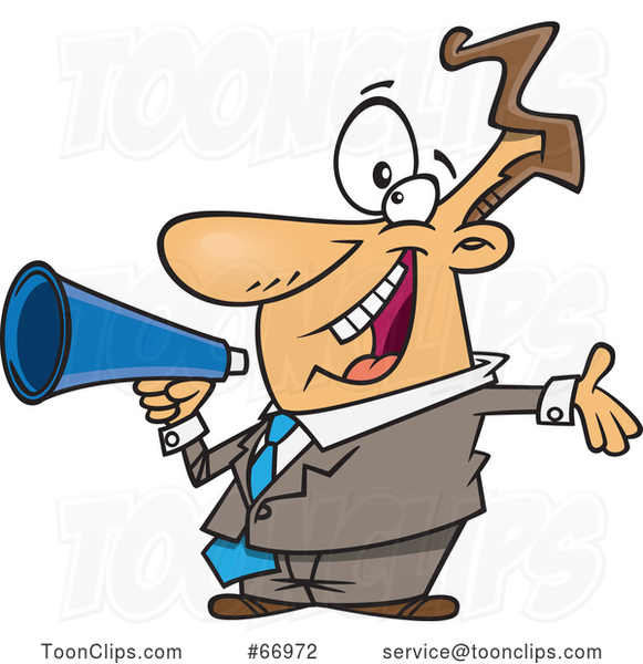 Cartoon Enthusiastic White Businessman Marketing with a Megaphone