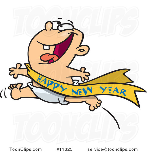 Cartoon Excited Baby Running With A Happy New Year Sash