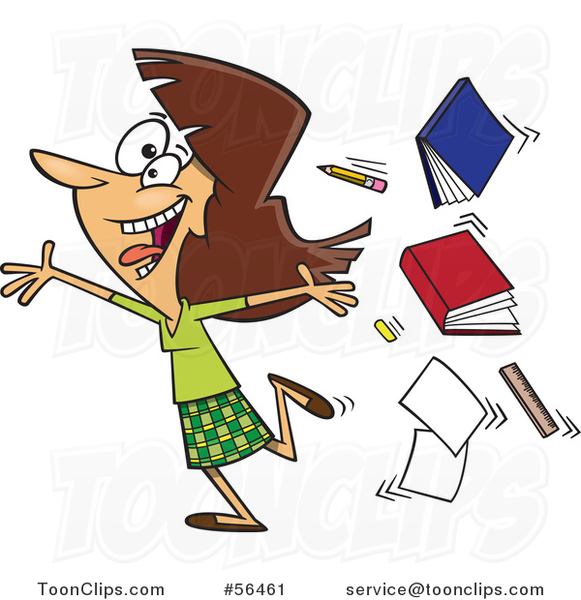 Cartoon Excited Brunette White Female Teacher Running Gleefully and Throwing up Books