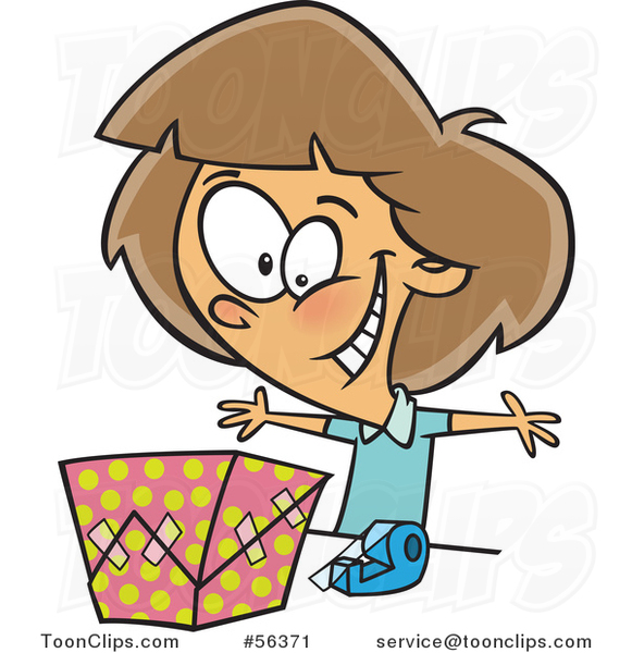 Cartoon Excited Brunette White Girl Wrapping a Gift