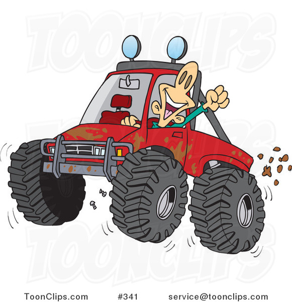Cartoon Excited Guy 4wheeling His Truck Through Mud