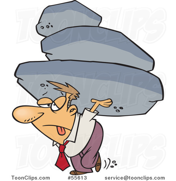 Cartoon Exhausted Business Man Carrying the Burden of a Heavy Boulder Load