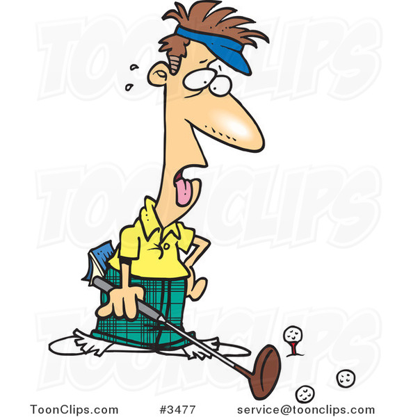 Cartoon Exhausted Golfer