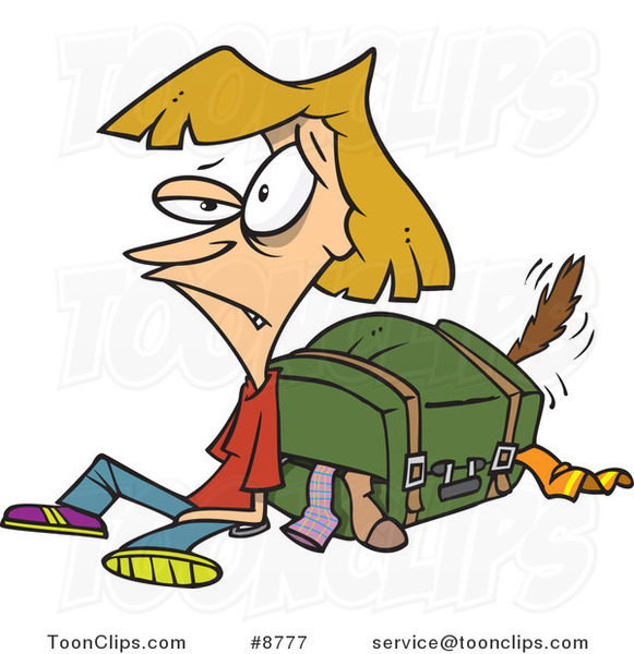 Cartoon Exhausted Lady by Her Packed Suitcase