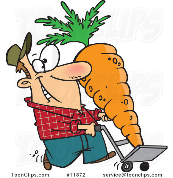 Cartoon Farmer with a Big Carrot on a Dolly