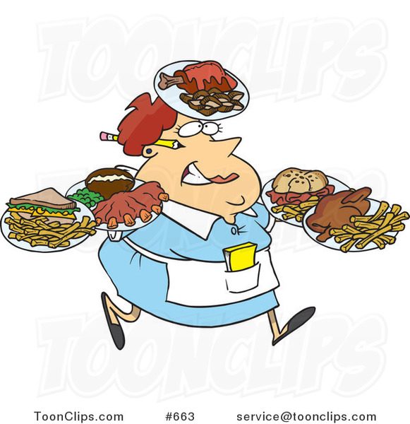 Cartoon Fat Female Waitress Carrying Many Plates