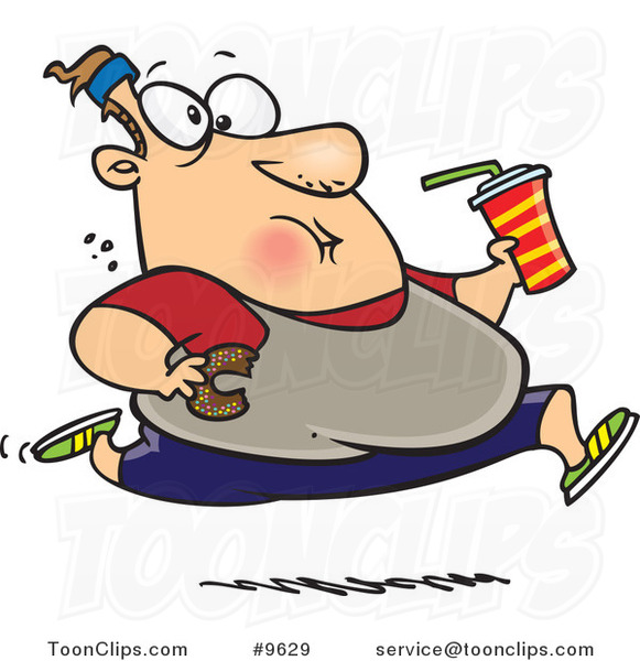Cartoon Fat Guy Running and Eating Junk Food #9629 by Ron ...