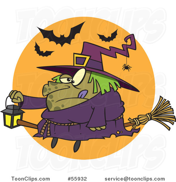 Cartoon Fat Halloween Witch Holding a Lantern on a Broomstick