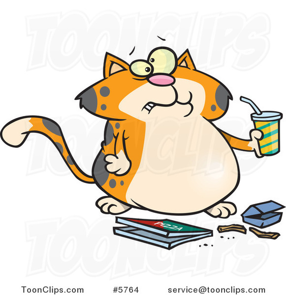 Cartoon Fat Orange Cat Binging Fast Food