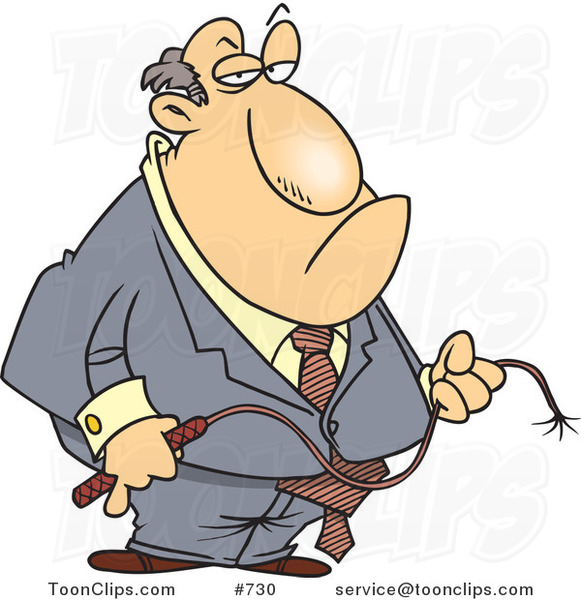 Cartoon Fat White Business Man Holding a Whip