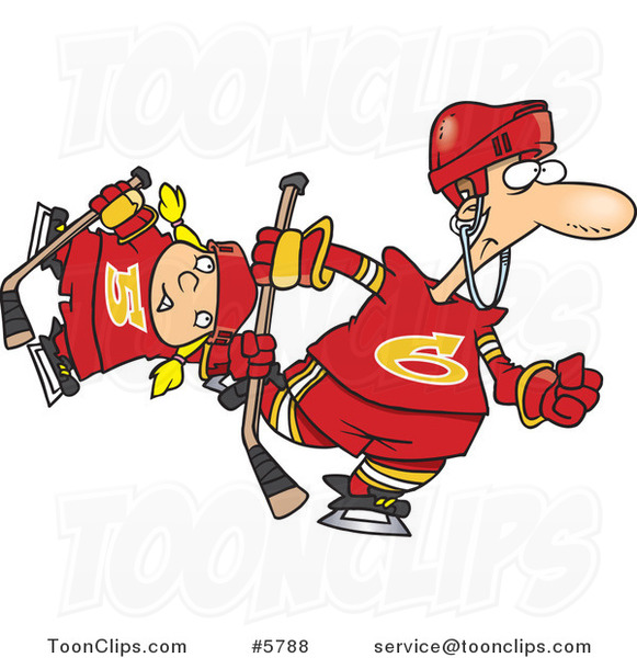 Cartoon Father and Daughter Playing Hockey