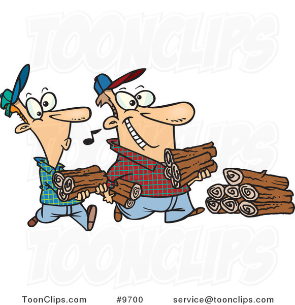 Cartoon Father and Son Carrying Wood