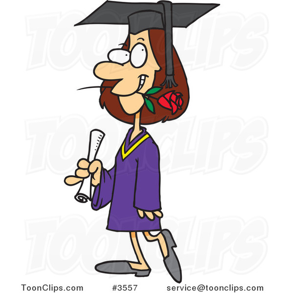 Cartoon Female College Graduate with a Rose in Her Mouth